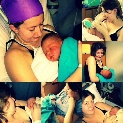 2006: 16 Years old. The bottom right is my first photographed cuddle with my boy when I was eventually concious enough to appreciate a photo about 16 hours old.